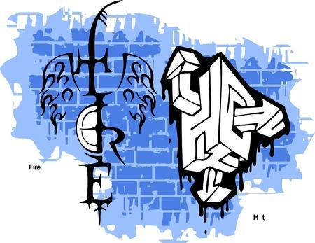 Graffiti -Tire end Wings.Vector Illustration. Vinyl-Ready. Vector
