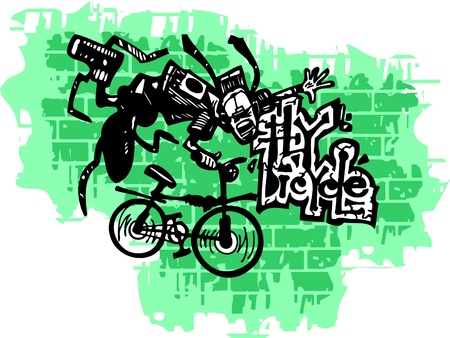 Graffiti -Teenager end Bicycle.Vector Illustration. Vinyl-Ready. Vector