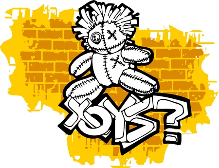 Graffiti -Toys end Question mark.Vector Illustration. Vinyl-Ready. Vector