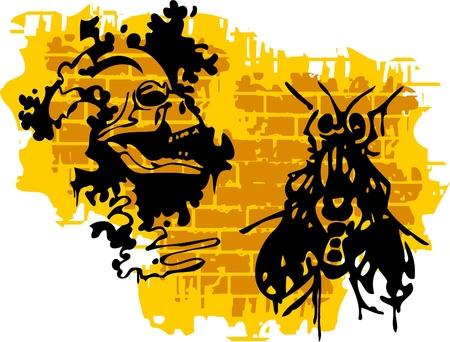 Graffiti -Skull end Fly.Vector Illustration. Vinyl-Ready. Vector