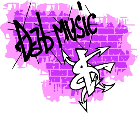 Graffiti -Text end Music.Vector Illustration. Vinyl-Ready.