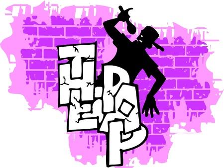 Graffiti -Wall and  Silhouette.Vector Illustration. Vinyl-Ready. Vector