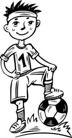 Little football player with a ball.Children.Vector illustration ready for vinyl cutting. Vector