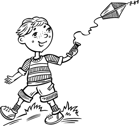 Boy with a kite.Children.Vector illustration ready for vinyl cutting. Vector