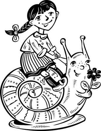 Girl on the cochlea.Children. illustration ready for vinyl cutting. Stock Vector - 8757958