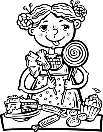 Girl with sweets.Children.  illustration ready for vinyl cutting. Stock Vector - 8758000