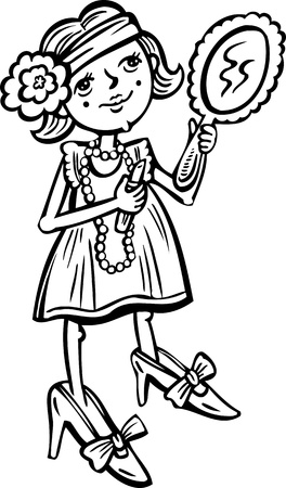 Girl with a mirror makes a manicure.Children.Vector illustration ready for vinyl cutting. Vector