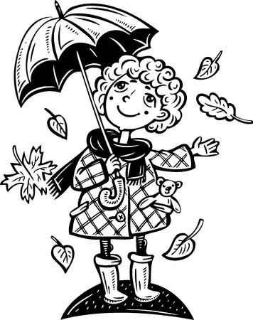 raincoat: Girl with an umbrella.Children.Vector illustration ready for vinyl cutting.