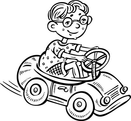 Niño en una máquina de escribir.Ilustración Children.vector listo para corte de vinilo.