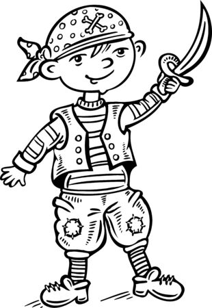 vinyl cutting: Little pirate.Children.Vector illustration ready for vinyl cutting.