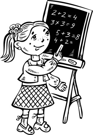 decides: Girl decides to examples on the blackboard.Children.Vector illustration ready for vinyl cutting.