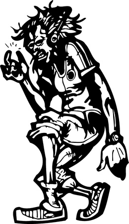 Boy in the headphones.Dancing.Vector illustration ready for vinyl cutting. Vector