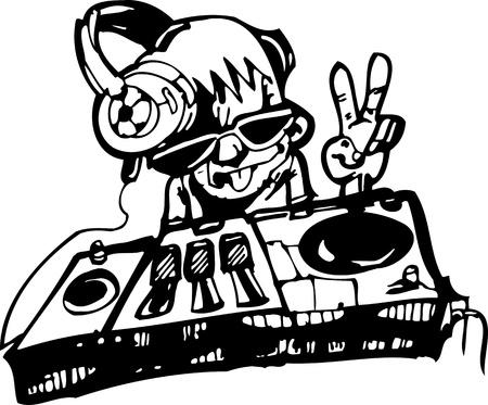 DJ. Dancing.Vector illustration ready for vinyl cutting.