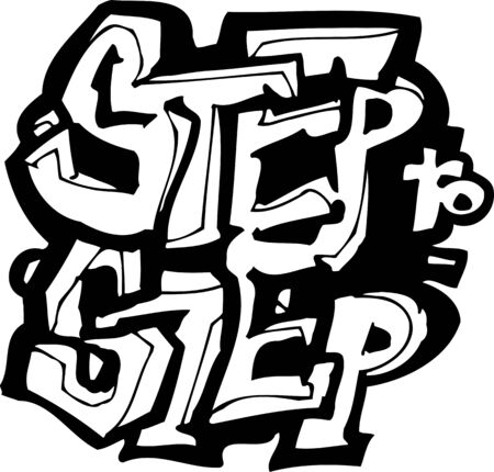 Step to Step.Dancing.Vector illustration ready for vinyl cutting. Vector