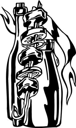 shish kebab: Shish kebab and wine.FastFood.Vector illustration ready for vinyl cutting.