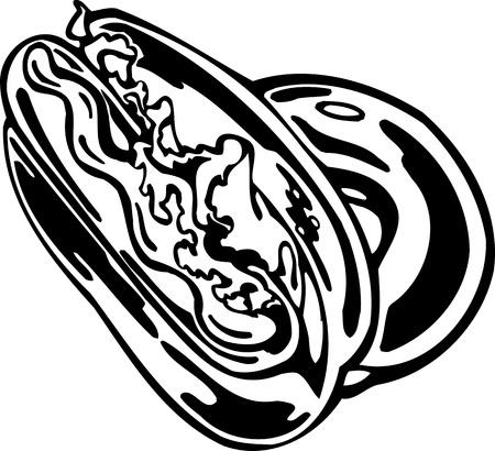 Hotdog. FastFood.Vector illustration ready for vinyl cutting. Stock Vector - 8758570
