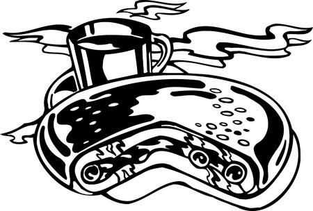 tarte aux cerises: Cherry Pie Coffee.FastFood.Vector illustration et pr�te pour la d�coupe de vinyle. Illustration