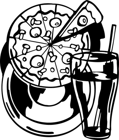 Pizza and juice.FastFood.Vector illustration ready for vinyl cutting. Stock Vector - 8758517