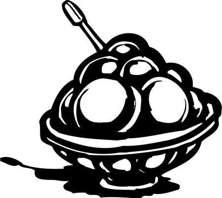 Dish of ice cream. FastFood.Vector illustration ready for vinyl cutting. Vector