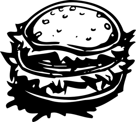 Hamburger.FastFood.Vector illustration ready for vinyl cutting. Stock Vector - 8758998