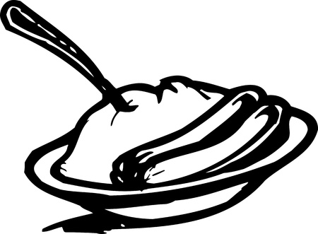 Sausages and mashed potatoes.FastFood.Vector illustration ready for vinyl cutting.