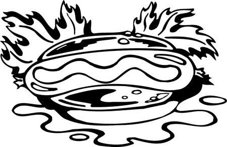Sandwich.FastFood.Vector illustration ready for vinyl cutting. Stock Vector - 8758113