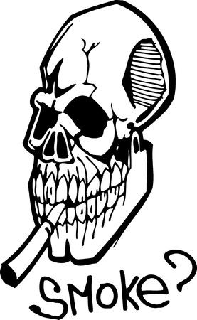 cancer de pulmon: Cr�neo con un cigarrillo.Ilustraci�n sana Lifestyle.Vector listo para corte de vinilo
