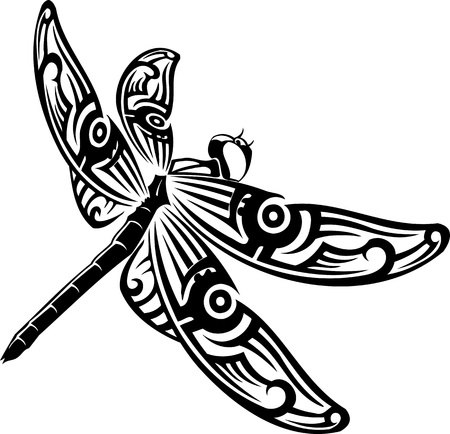 beautifull: Dragonfly.Vector illustration ready for vinyl cutting.