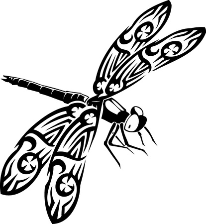 antenna dragonfly: Dragonfly.Vector illustration ready for vinyl cutting.