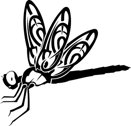 Dragonfly.Vector illustration ready for vinyl cutting. Stock Vector - 8758671