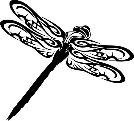 Dragonfly.Vector Illustration bereit für Vinyl schneiden.