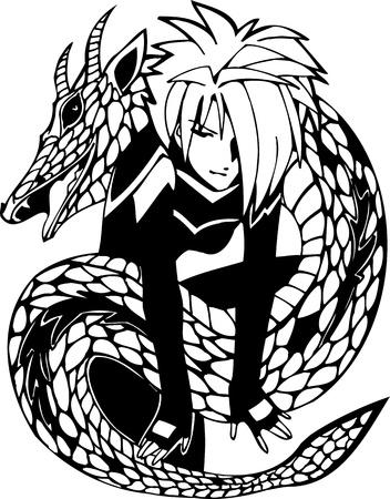 Dragon and  girl.Anime Girls.Vector illustration ready for vinyl cutting. Stock Vector - 8757913