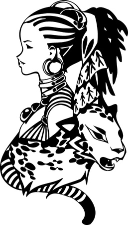 child girl nude: Leopard and a girl.Anime Girls.Vector illustration ready for vinyl cutting. Illustration