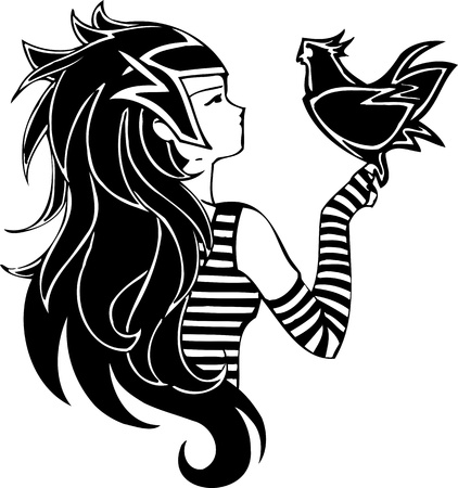 Girl with  bird.Anime Girls.Vector illustration ready for vinyl cutting. Vector