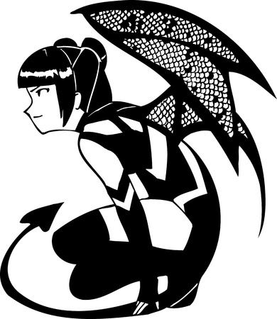 Girl with a tattoo snake.Girl with wings and tail.Anime Girls.  illustration ready for vinyl cutting. Stock Vector - 8757930