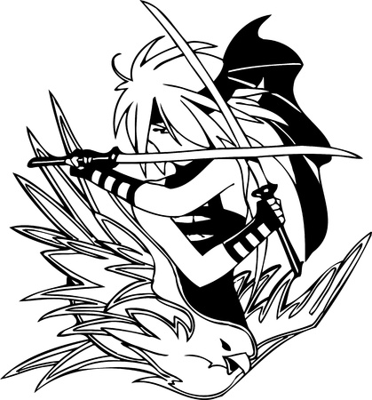 Girl with two swords.Anime Girls.Vector illustration ready for vinyl cutting. Stock Vector - 8758044