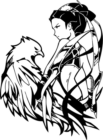 Girl with a hunting falcon. Anime Girls.Vector illustration ready for vinyl cutting. Vector
