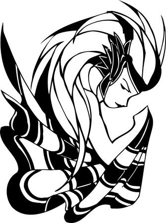 Anime Girls.Vector illustration ready for vinyl cutting. Vector