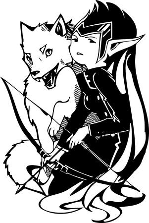 Fox and the girl. Anime Girls.Vector illustration ready for vinyl cutting. Vector