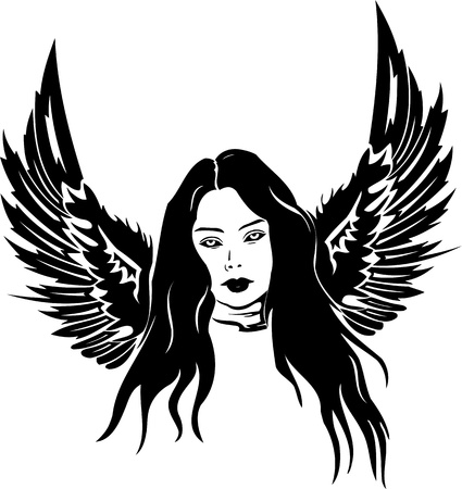 Girl with wings.Girls.  illustration ready for vinyl cutting. Vector