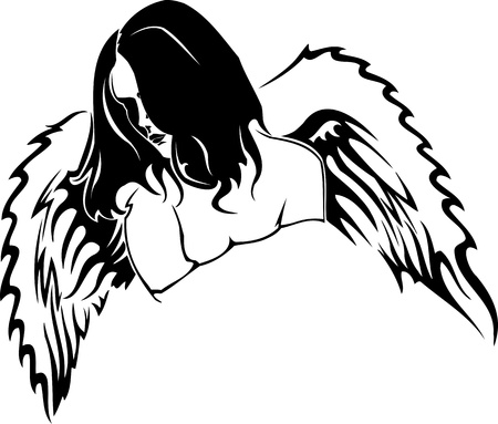 Girl with wings.Girls.Vector illustration ready for vinyl cutting. Stock Vector - 8758366