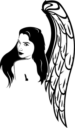 Girl with wings.Girls.  illustration ready for vinyl cutting. Stock Vector - 8757953