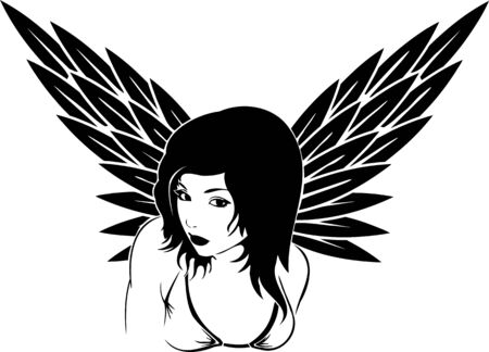 Girl with wings.Girls. illustration ready for vinyl cutting. Stock Vector - 8757963