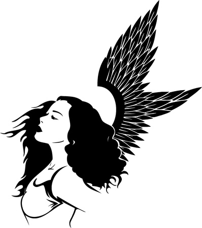 Girl with wings.Girls.Vector illustration ready for vinyl cutting. Stock Vector - 8758041