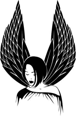 Girl with wings.Girls.Vector illustration ready for vinyl cutting. Stock Vector - 8757900