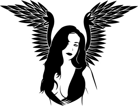 Girl with wings.Girls.Vector illustration ready for vinyl cutting. Vector