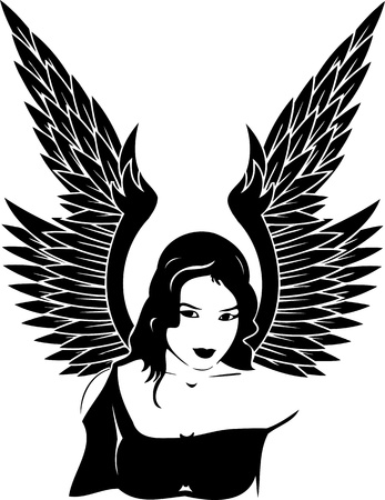 Girl with wings.Girls.Vector illustration ready for vinyl cutting. Stock Vector - 8757918
