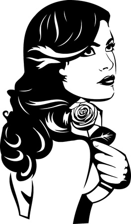 Beautiful  Girl.Vector illustration ready for vinyl cutting. Vector