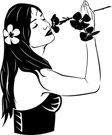 Beautiful Girl with a flower. Girls.Vector illustration ready for vinyl cutting. Stock Vector - 8758564
