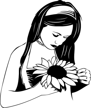 Beautiful Girl with a flower. Girls.Vector illustration ready for vinyl cutting. Stock Vector - 8758430